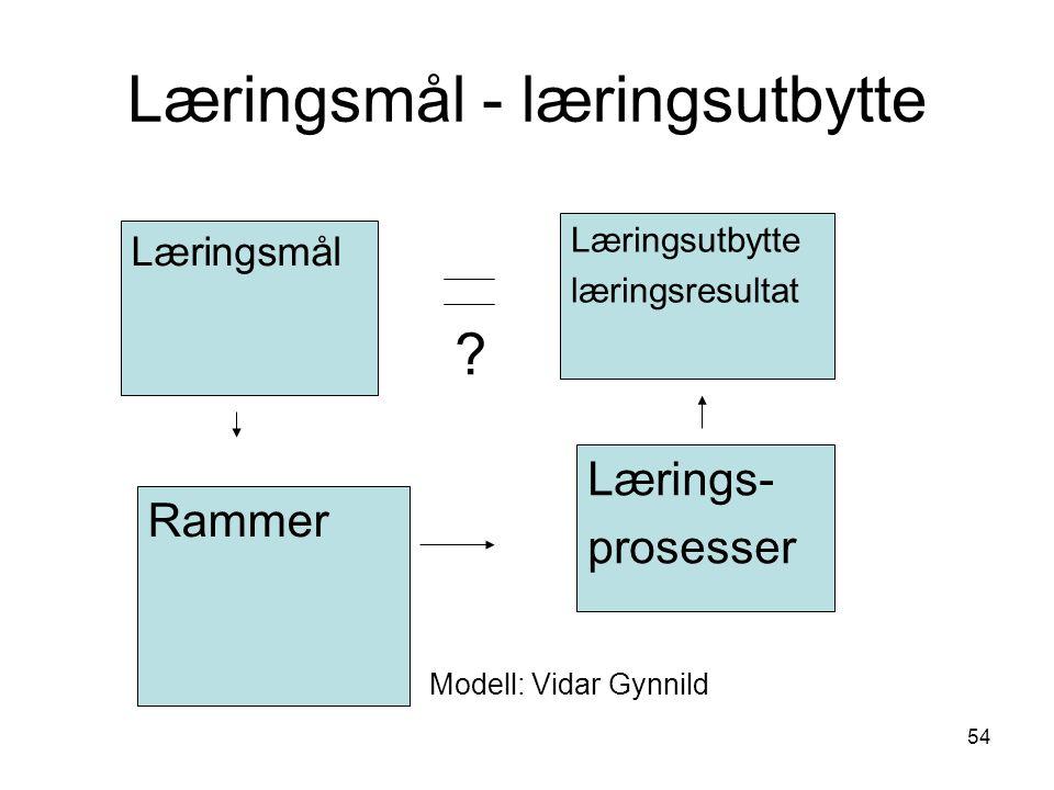 54 Læringsmål - læringsutbytte Rammer Læringsmål Lærings- prosesser Læringsutbytte læringsresultat .