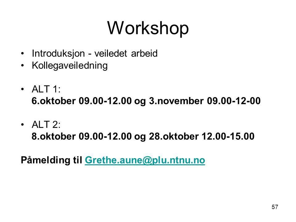 57 Workshop Introduksjon - veiledet arbeid Kollegaveiledning ALT 1: 6.oktober 09.00-12.00 og 3.november 09.00-12-00 ALT 2: 8.oktober 09.00-12.00 og 28.oktober 12.00-15.00 Påmelding til Grethe.aune@plu.ntnu.noGrethe.aune@plu.ntnu.no
