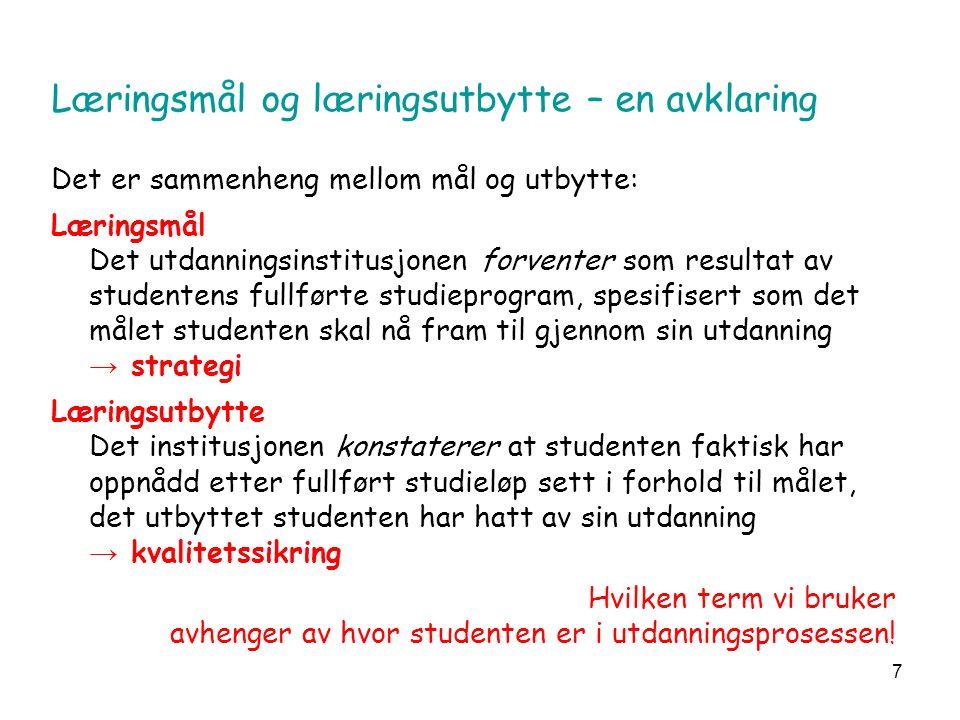 38 SPØRSMÅL/UTFORDRINGER Kan læringsutbyttet (output) beskrives i planene uavhengig av læringsprosessene.