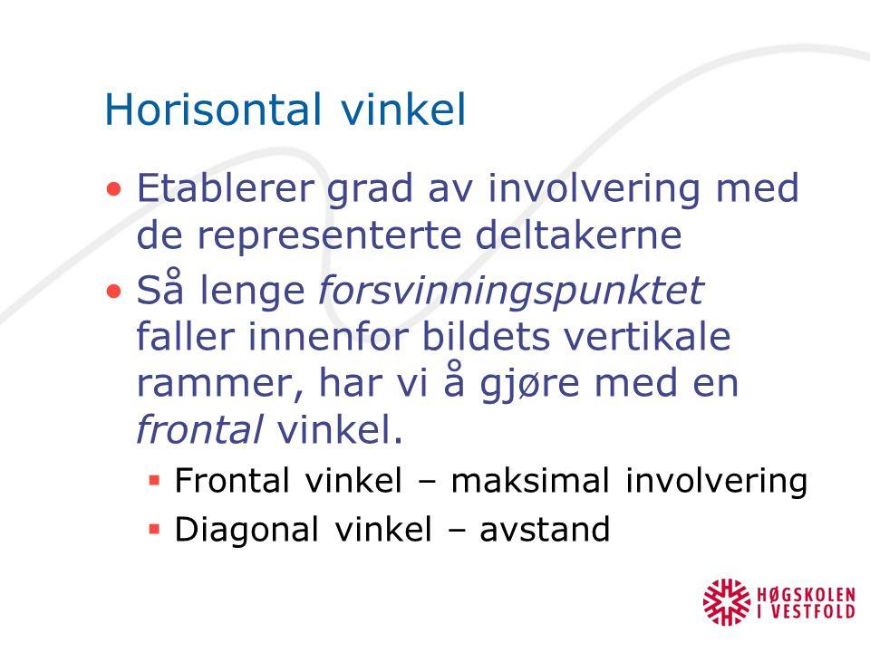 Horisontal vinkel Etablerer grad av involvering med de representerte deltakerne Så lenge forsvinningspunktet faller innenfor bildets vertikale rammer, har vi å gjøre med en frontal vinkel.
