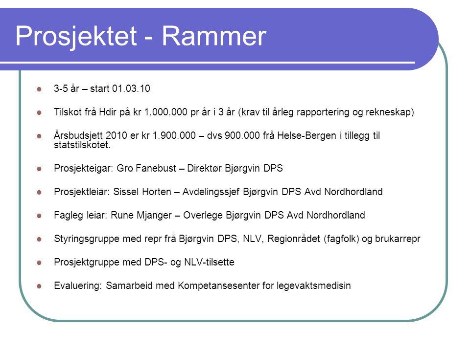 Prosjektet - Rammer 3-5 år – start 01.03.10 Tilskot frå Hdir på kr 1.000.000 pr år i 3 år (krav til årleg rapportering og rekneskap) Årsbudsjett 2010 er kr 1.900.000 – dvs 900.000 frå Helse-Bergen i tillegg til statstilskotet.