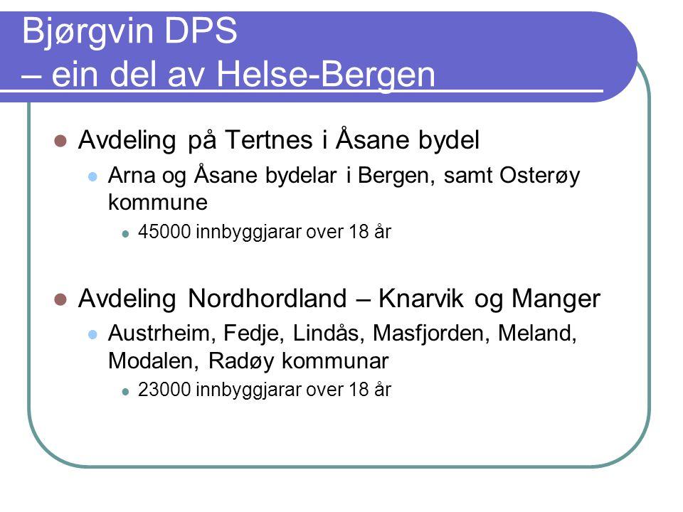 Bjørgvin DPS – ein del av Helse-Bergen Avdeling på Tertnes i Åsane bydel Arna og Åsane bydelar i Bergen, samt Osterøy kommune 45000 innbyggjarar over 18 år Avdeling Nordhordland – Knarvik og Manger Austrheim, Fedje, Lindås, Masfjorden, Meland, Modalen, Radøy kommunar 23000 innbyggjarar over 18 år