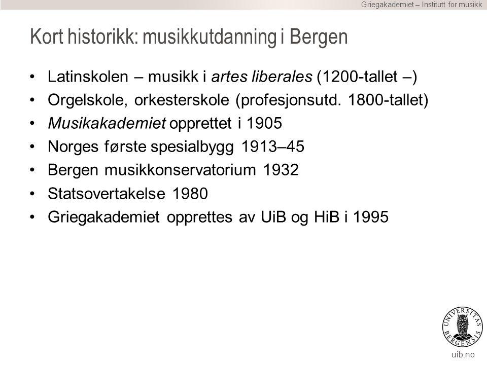uib.no Kort historikk: musikkutdanning i Bergen Latinskolen – musikk i artes liberales (1200-tallet –) Orgelskole, orkesterskole (profesjonsutd.
