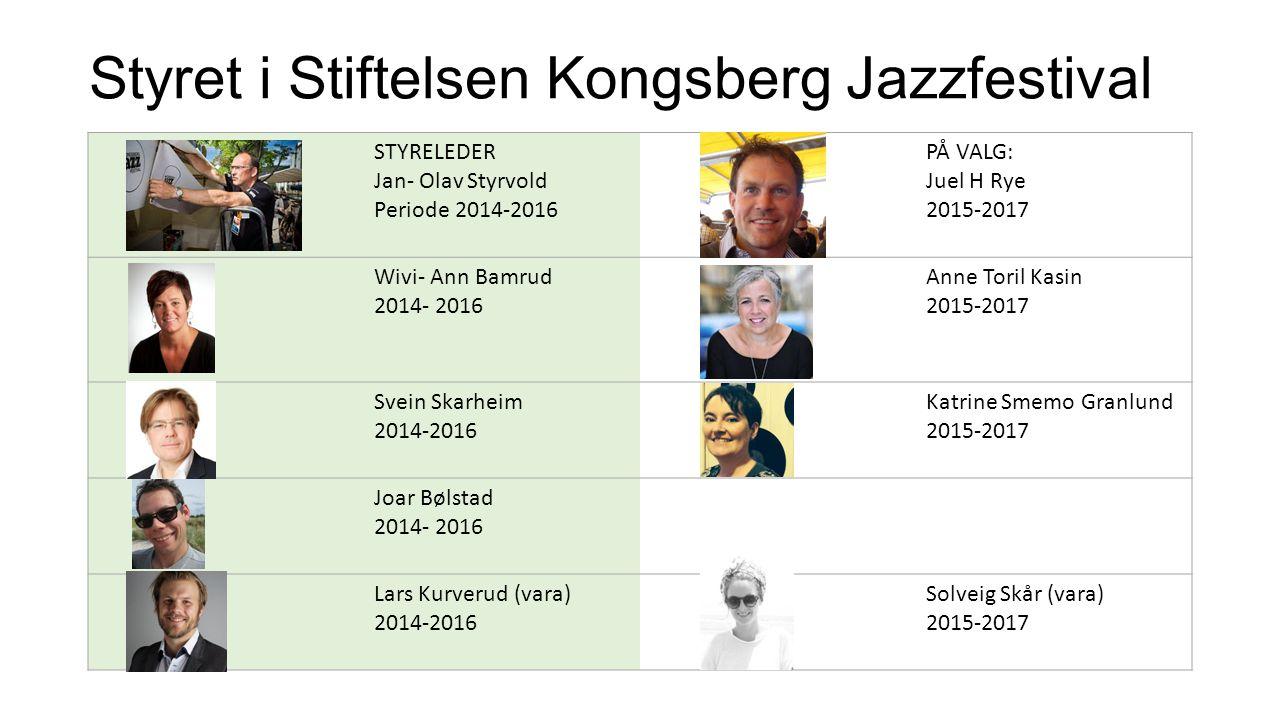 Styret i Stiftelsen Kongsberg Jazzfestival STYRELEDER Jan- Olav Styrvold Periode 2014-2016 PÅ VALG: Juel H Rye 2015-2017 Wivi- Ann Bamrud 2014- 2016 Anne Toril Kasin 2015-2017 Svein Skarheim 2014-2016 Katrine Smemo Granlund 2015-2017 Joar Bølstad 2014- 2016 Lars Kurverud (vara) 2014-2016 Solveig Skår (vara) 2015-2017