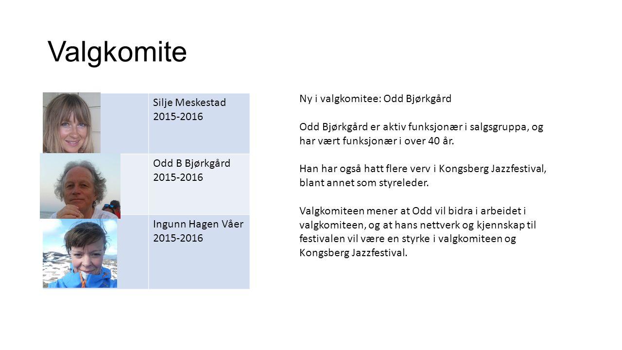 Valgkomite Silje Meskestad 2015-2016 Odd B Bjørkgård 2015-2016 Ingunn Hagen Våer 2015-2016 Ny i valgkomitee: Odd Bjørkgård Odd Bjørkgård er aktiv funksjonær i salgsgruppa, og har vært funksjonær i over 40 år.