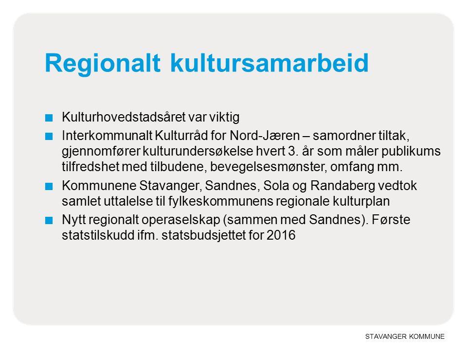 Regionalt kultursamarbeid ■ Kulturhovedstadsåret var viktig ■ Interkommunalt Kulturråd for Nord-Jæren – samordner tiltak, gjennomfører kulturundersøkelse hvert 3.