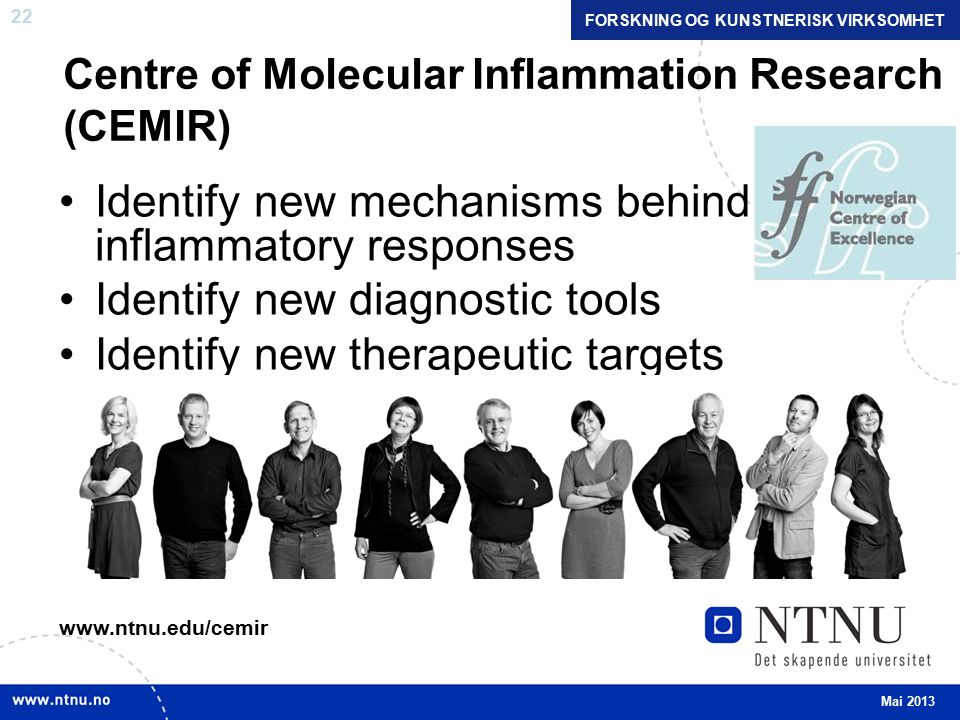 22 Centre of Molecular Inflammation Research (CEMIR) Identify new mechanisms behind inflammatory responses Identify new diagnostic tools Identify new