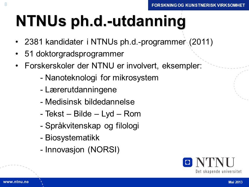 8 NTNUs ph.d.-utdanning 2381 kandidater i NTNUs ph.d.-programmer (2011) 51 doktorgradsprogrammer Forskerskoler der NTNU er involvert, eksempler: - Nanoteknologi for mikrosystem - Lærerutdanningene - Medisinsk bildedannelse - Tekst – Bilde – Lyd – Rom - Språkvitenskap og filologi - Biosystematikk - Innovasjon (NORSI) Mai 2013 FORSKNING OG KUNSTNERISK VIRKSOMHET