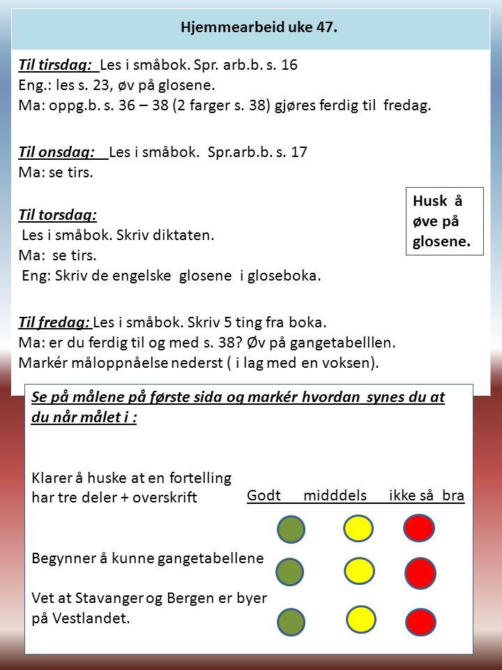 Til tirsdag: Les i småbok. Spr. arb.b. s. 16 Eng.: les s.