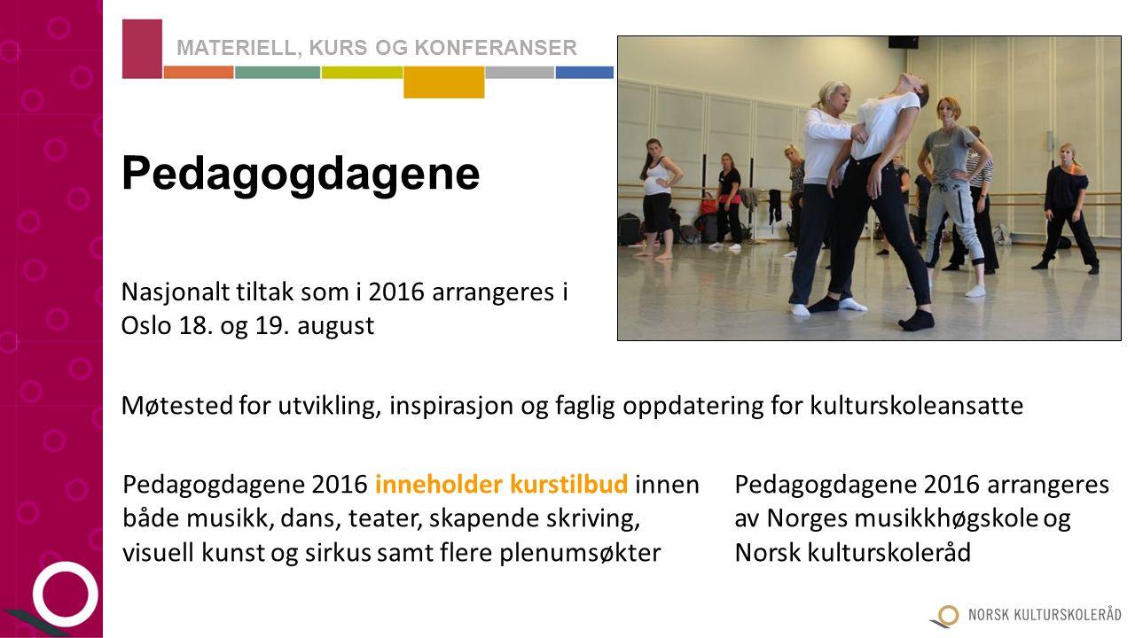 I 2016-2017 vil Kulturskoledagene handle mye om implementering av den nye rammeplanen for kulturskolen Kulturskoledagene Nasjonalt tiltak som i 2016-2017 arrangeres på fem steder: Førde: 8.
