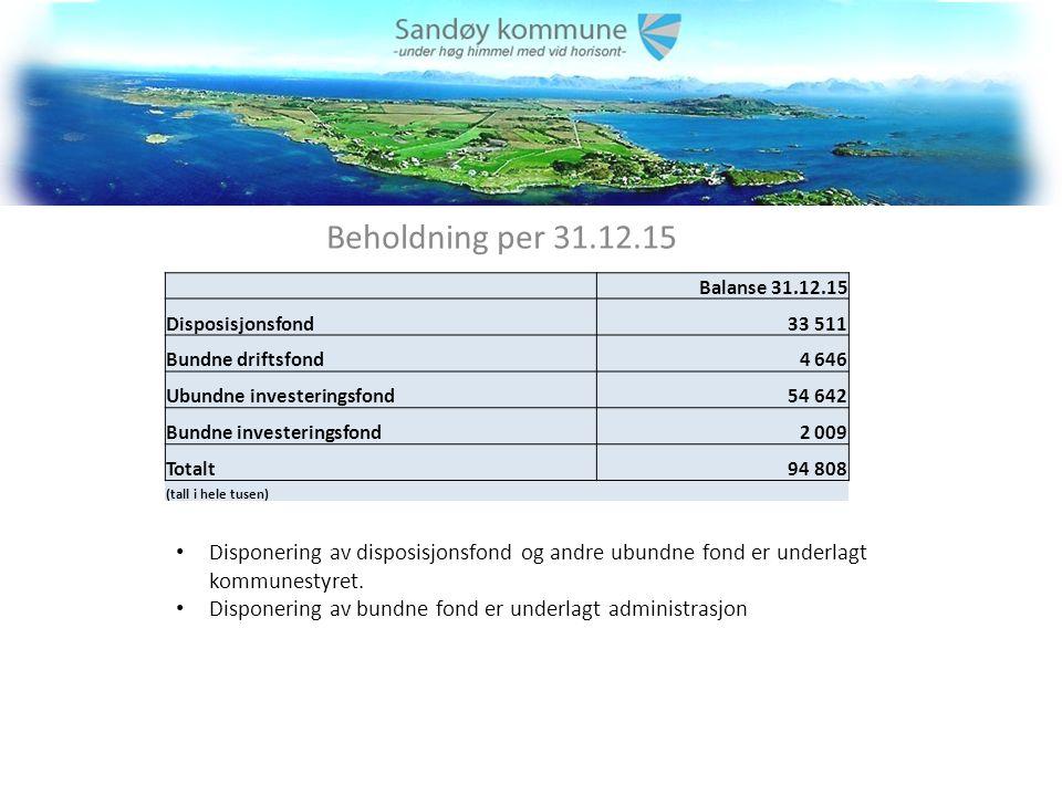 Beholdning per 31.12.15 Disponering av disposisjonsfond og andre ubundne fond er underlagt kommunestyret.