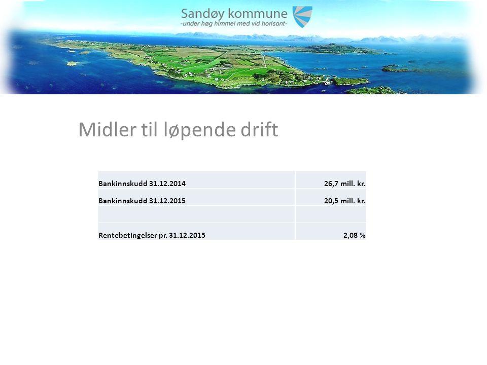 Midler til løpende drift Bankinnskudd 31.12.201426,7 mill.