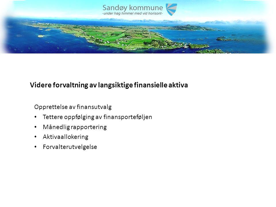 Videre forvaltning av langsiktige finansielle aktiva Opprettelse av finansutvalg Tettere oppfølging av finansporteføljen Månedlig rapportering Aktivaallokering Forvalterutvelgelse