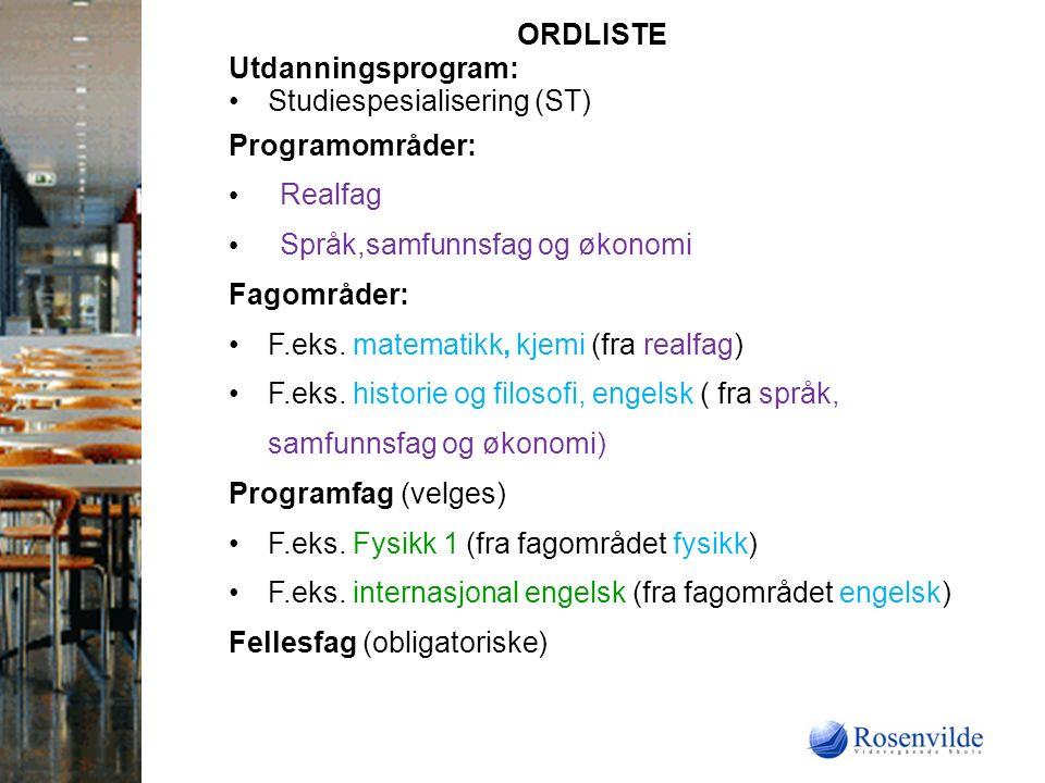 ORDLISTE Utdanningsprogram: Studiespesialisering (ST) Programområder: Realfag Språk,samfunnsfag og økonomi Fagområder: F.eks.