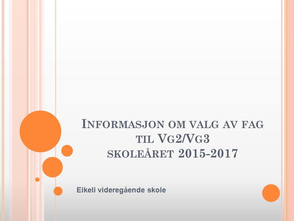 I NFORMASJON OM VALG AV FAG TIL V G 2/V G 3 SKOLEÅRET 2015-2017 Eikeli videregående skole