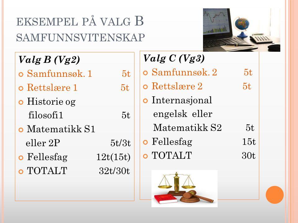 EKSEMPEL PÅ VALG B SAMFUNNSVITENSKAP Valg B (Vg2) Samfunnsøk.