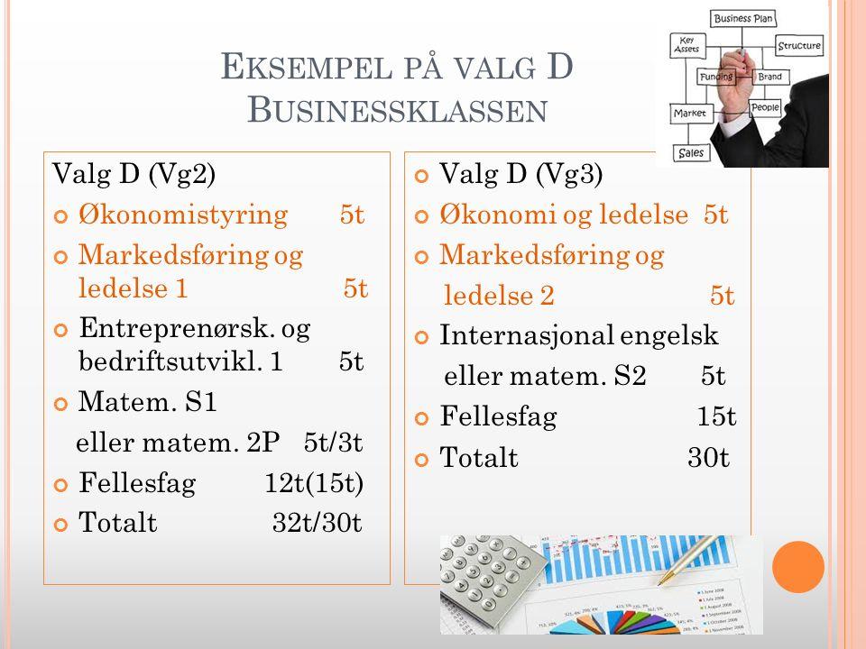 E KSEMPEL PÅ VALG D B USINESSKLASSEN Valg D (Vg2) Økonomistyring 5t Markedsføring og ledelse 1 5t Entreprenørsk.