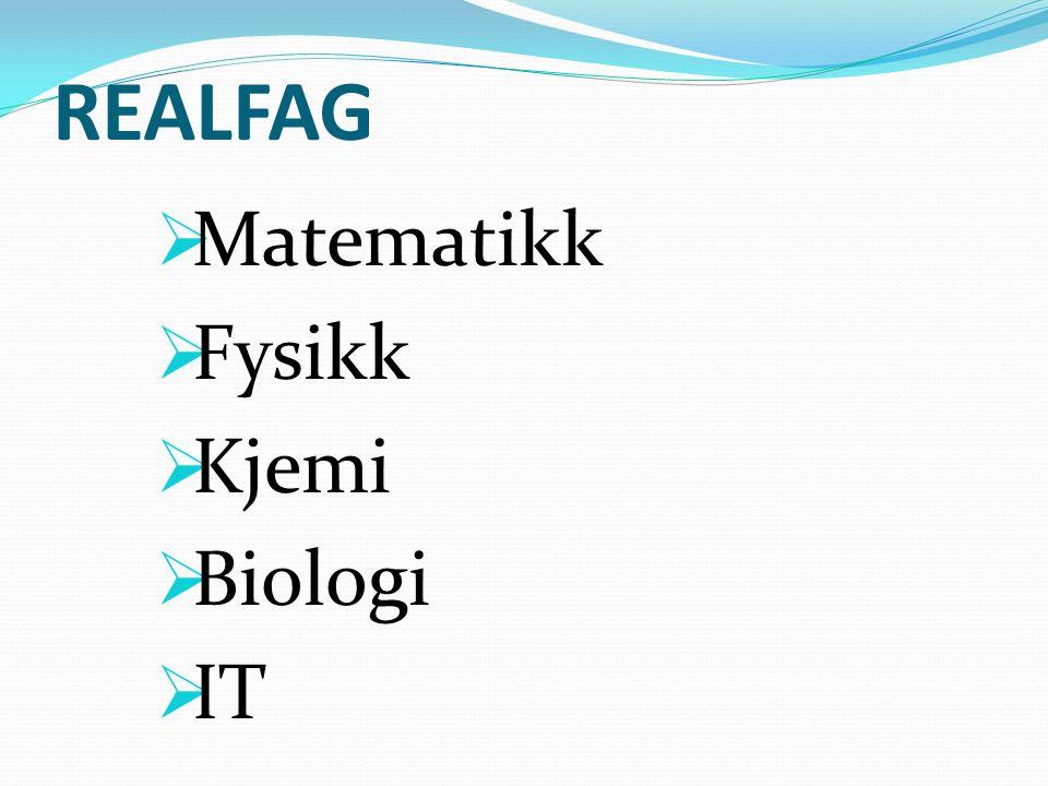 REALFAG  Matematikk  Fysikk  Kjemi  Biologi  IT