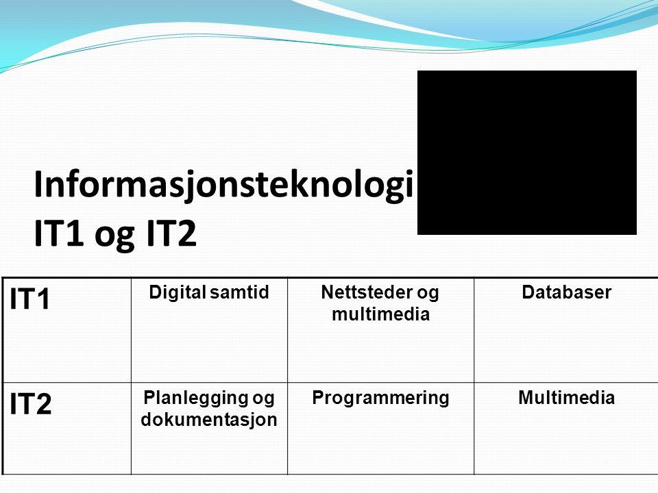 IT1 Digital samtidNettsteder og multimedia Databaser IT2 Planlegging og dokumentasjon ProgrammeringMultimedia Informasjonsteknologi IT1 og IT2