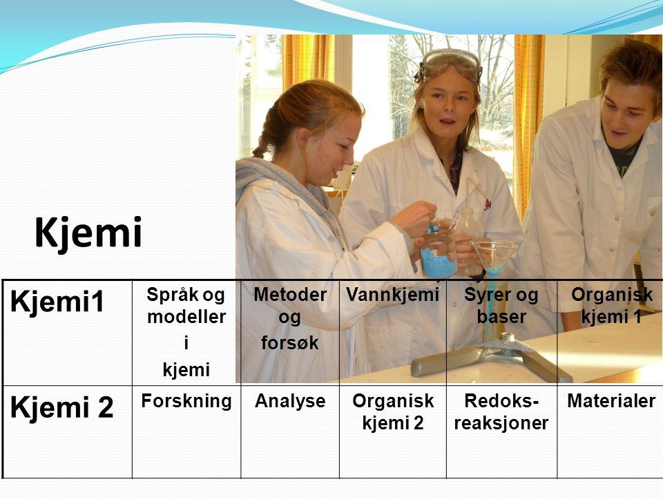 Kjemi1 Språk og modeller i kjemi Metoder og forsøk VannkjemiSyrer og baser Organisk kjemi 1 Kjemi 2 ForskningAnalyseOrganisk kjemi 2 Redoks- reaksjoner Materialer Kjemi