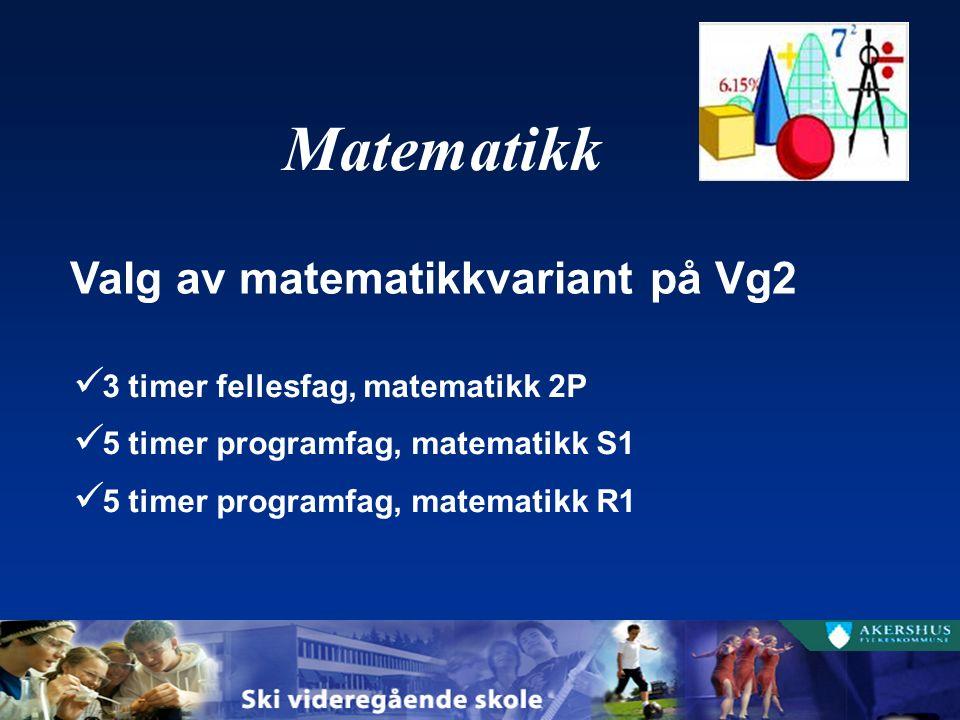 3 timer fellesfag, matematikk 2P 5 timer programfag, matematikk S1 5 timer programfag, matematikk R1 Valg av matematikkvariant på Vg2 Matematikk
