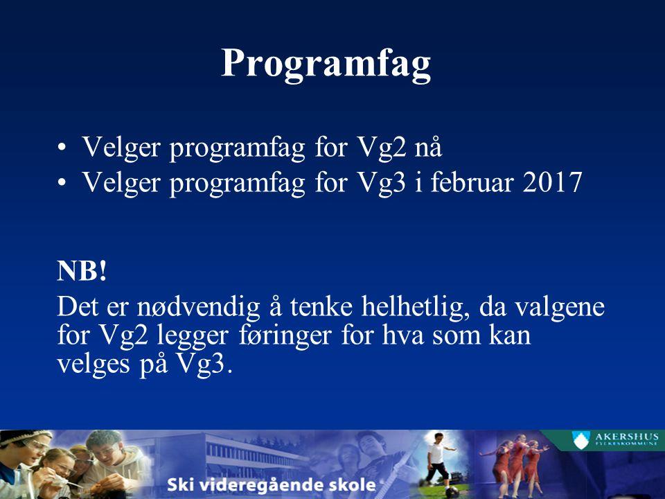 Programfag Velger programfag for Vg2 nå Velger programfag for Vg3 i februar 2017 NB.