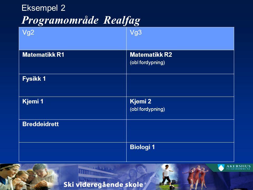 Eksempel 2 Programområde Realfag Vg2Vg3 Matematikk R1Matematikk R2 (obl fordypning) Fysikk 1 Kjemi 1Kjemi 2 (obl fordypning) Breddeidrett Biologi 1