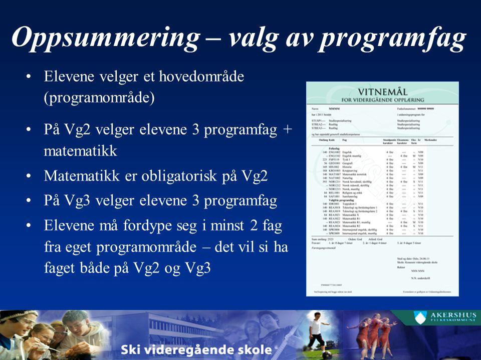 Oppsummering – valg av programfag Elevene velger et hovedområde (programområde) På Vg2 velger elevene 3 programfag + matematikk Matematikk er obligatorisk på Vg2 På Vg3 velger elevene 3 programfag Elevene må fordype seg i minst 2 fag fra eget programområde – det vil si ha faget både på Vg2 og Vg3