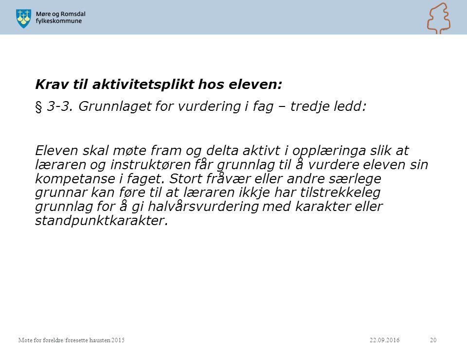 Krav til aktivitetsplikt hos eleven: § 3-3.