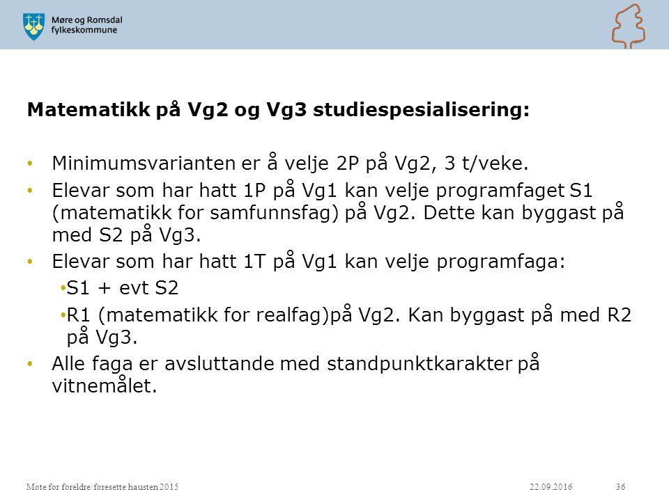 Matematikk på Vg2 og Vg3 studiespesialisering: Minimumsvarianten er å velje 2P på Vg2, 3 t/veke.