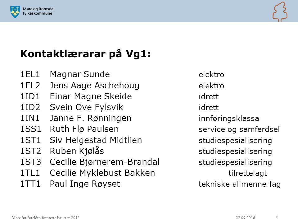 Kontaktlærarar på Vg1: 1EL1Magnar Sunde elektro 1EL2Jens Aage Aschehoug elektro 1ID1Einar Magne Skeide idrett 1ID2Svein Ove Fylsvik idrett 1IN1Janne F.