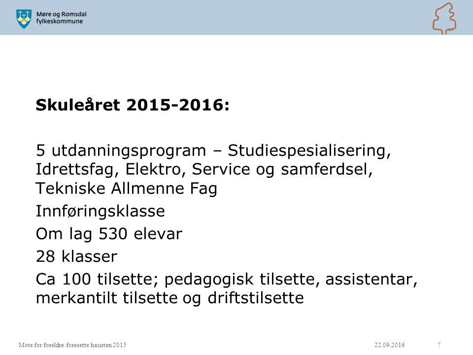 22.09.2016Møte for foreldre/føresette hausten 201518