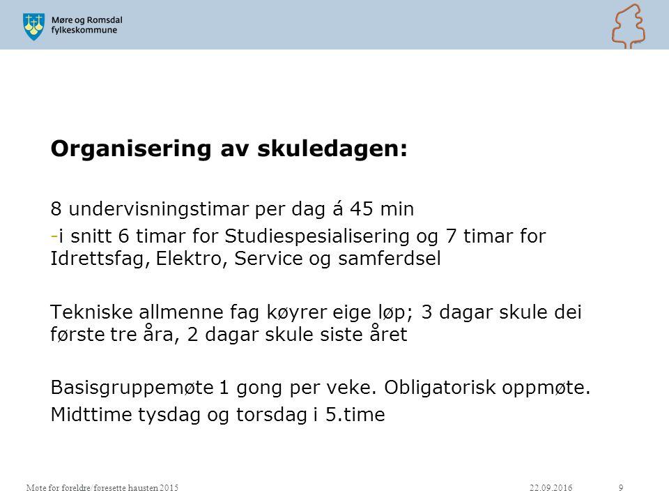 Struktur studiespesialisering Vg2/Vg3: 15 timar fellesfag, dvs.