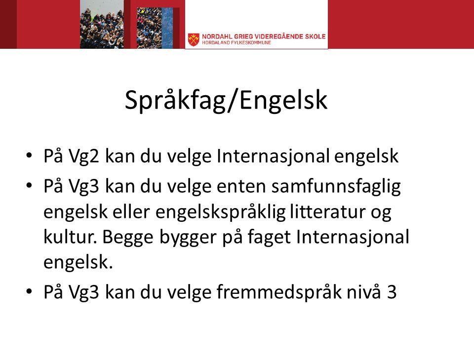 Språkfag/Engelsk På Vg2 kan du velge Internasjonal engelsk På Vg3 kan du velge enten samfunnsfaglig engelsk eller engelskspråklig litteratur og kultur.