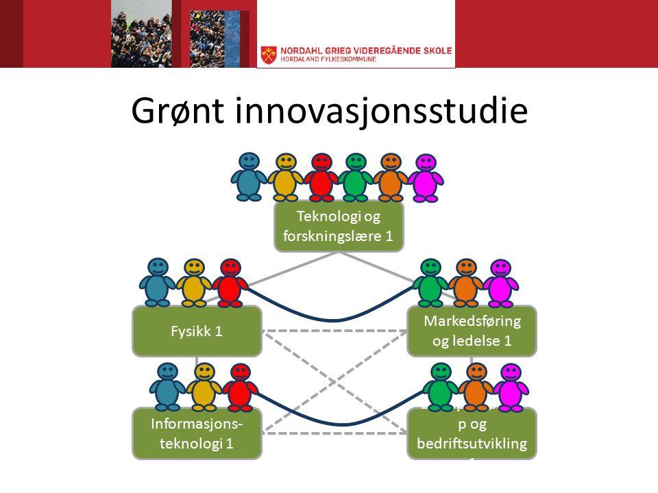 Grønt innovasjonsstudie Teknologi og forskningslære 1 Fysikk 1 Markedsføring og ledelse 1 Informasjons- teknologi 1 Entreprenørska p og bedriftsutvikling 1