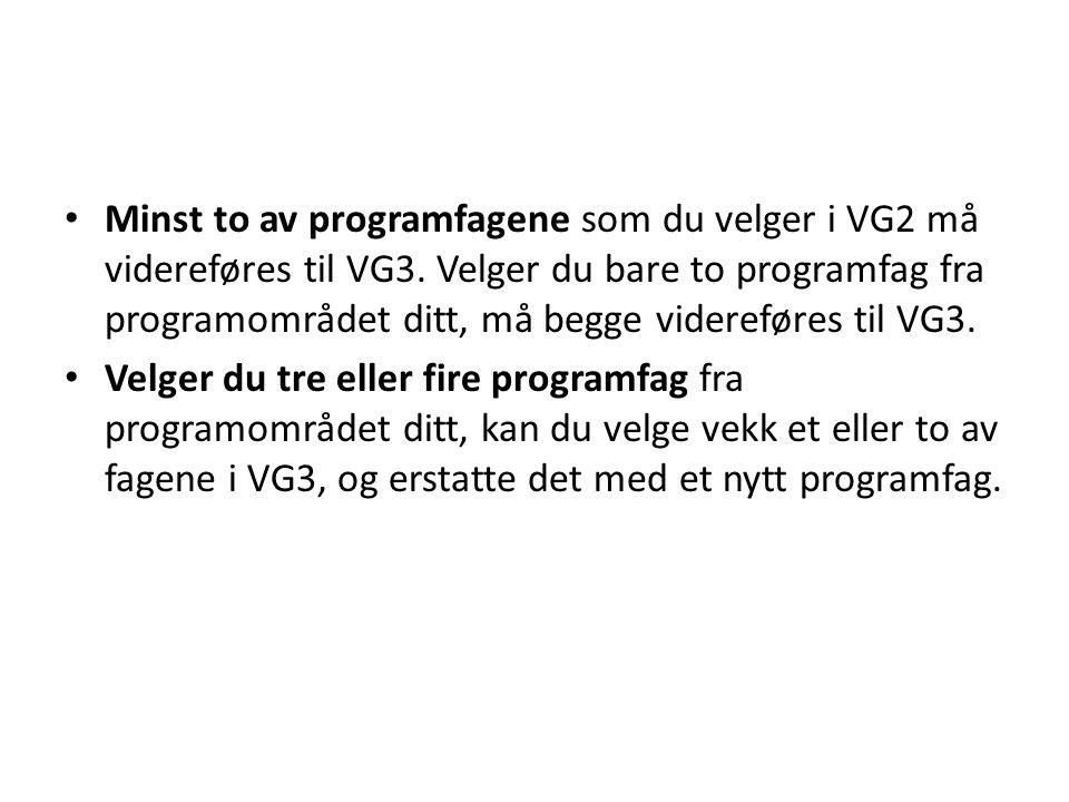 Minst to av programfagene som du velger i VG2 må videreføres til VG3.