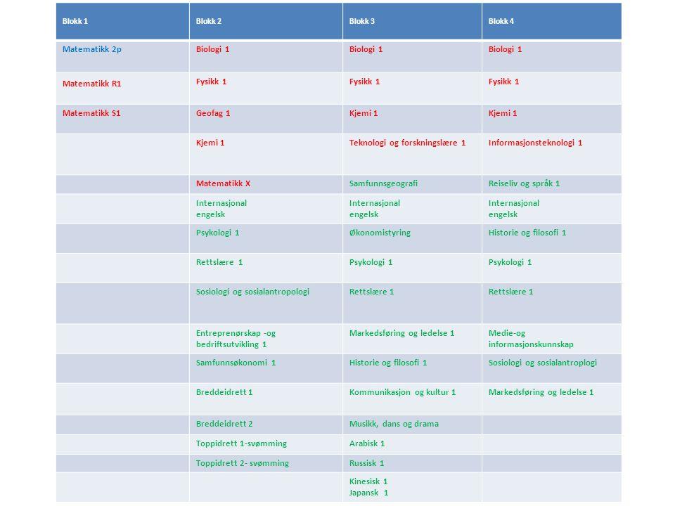 FagområdeMatematikkFysikkKjemiValgfritt VG2R1Fysikk1Kjemi1Internasjonal engelsk VG3R2Kjemi2Historie og filosofi1 Eksempel realfag