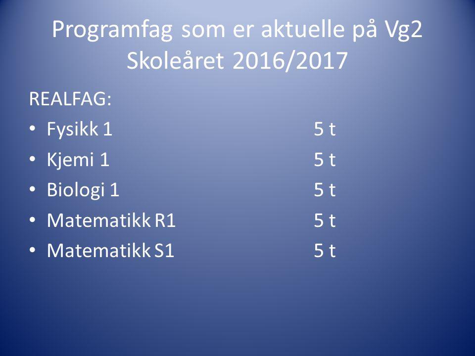 REALFAG: Fysikk 15 t Kjemi 15 t Biologi 15 t Matematikk R15 t Matematikk S15 t Programfag som er aktuelle på Vg2 Skoleåret 2016/2017