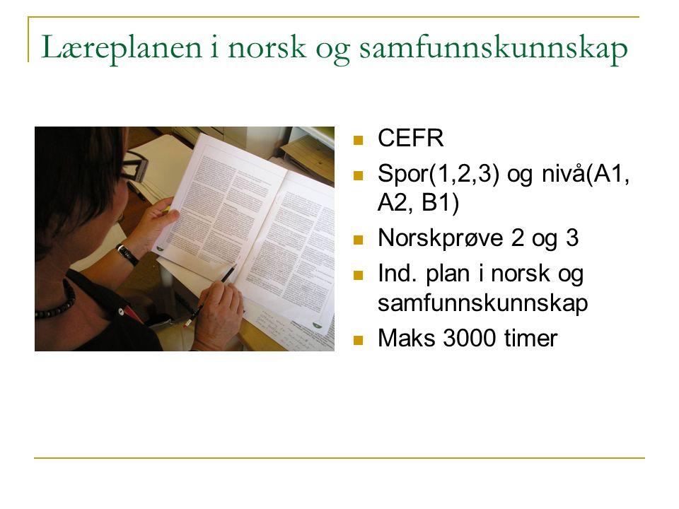 Læreplanen i norsk og samfunnskunnskap CEFR Spor(1,2,3) og nivå(A1, A2, B1) Norskprøve 2 og 3 Ind.
