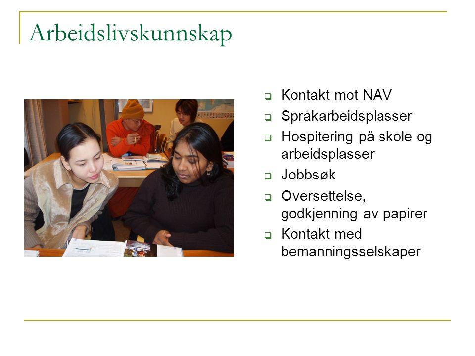 Arbeidslivskunnskap  Kontakt mot NAV  Språkarbeidsplasser  Hospitering på skole og arbeidsplasser  Jobbsøk  Oversettelse, godkjenning av papirer