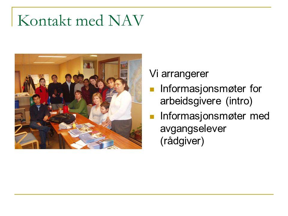 Kontakt med NAV Vi arrangerer Informasjonsmøter for arbeidsgivere (intro) Informasjonsmøter med avgangselever (rådgiver)
