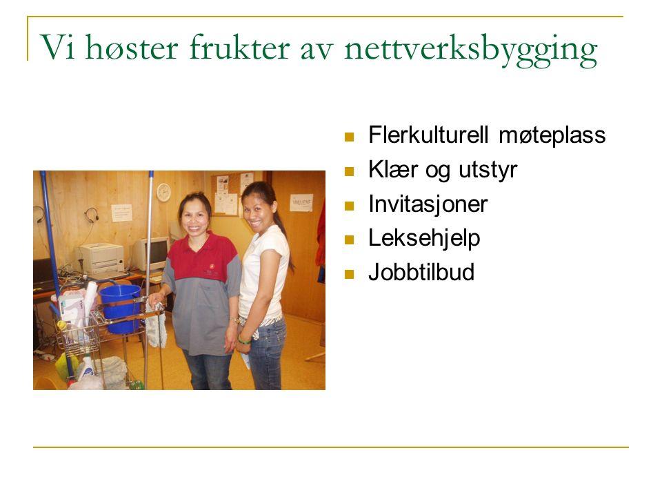 Vi høster frukter av nettverksbygging Flerkulturell møteplass Klær og utstyr Invitasjoner Leksehjelp Jobbtilbud