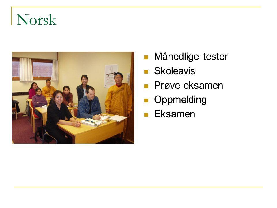 Norsk Månedlige tester Skoleavis Prøve eksamen Oppmelding Eksamen
