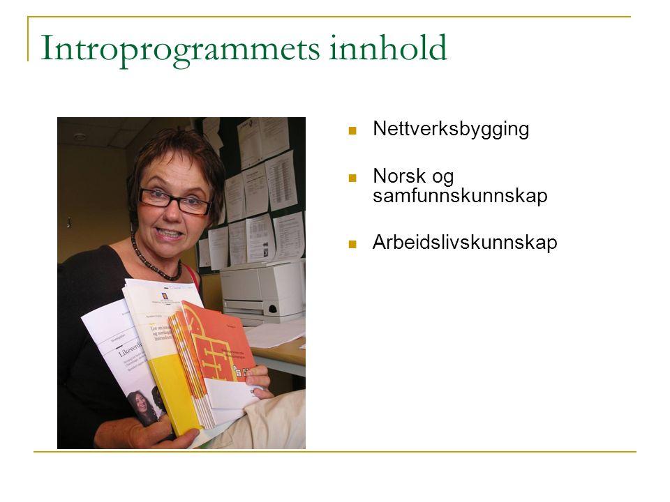 Introprogrammets innhold Nettverksbygging Norsk og samfunnskunnskap Arbeidslivskunnskap