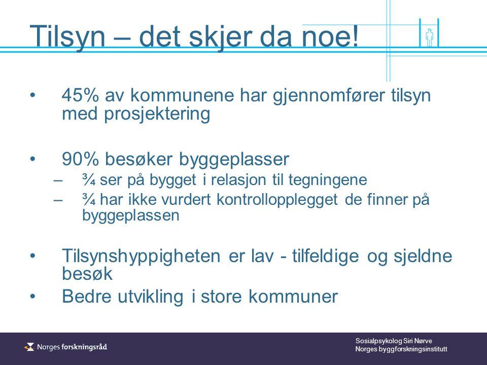Sosialpsykolog Siri Nørve Norges byggforskningsinstitutt Tilsyn – det skjer da noe.