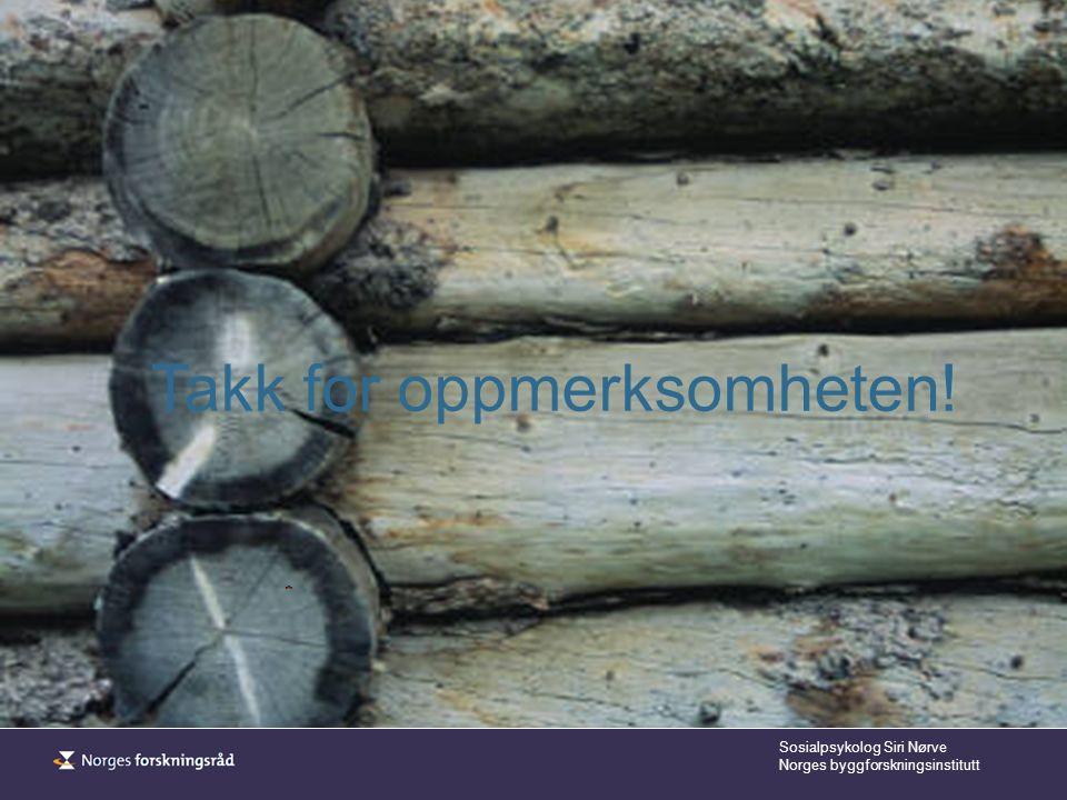 Sosialpsykolog Siri Nørve Norges byggforskningsinstitutt Takk for oppmerksomheten!
