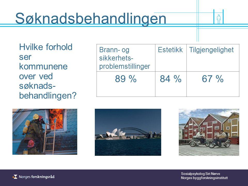 Sosialpsykolog Siri Nørve Norges byggforskningsinstitutt Søknadsbehandlingen Hvilke forhold ser kommunene over ved søknads- behandlingen.