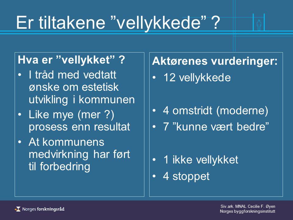 """Siv.ark. MNAL Cecilie F. Øyen Norges byggforskningsinstitutt Er tiltakene """"vellykkede"""" ? Hva er """"vellykket"""" ? I tråd med vedtatt ønske om estetisk utv"""