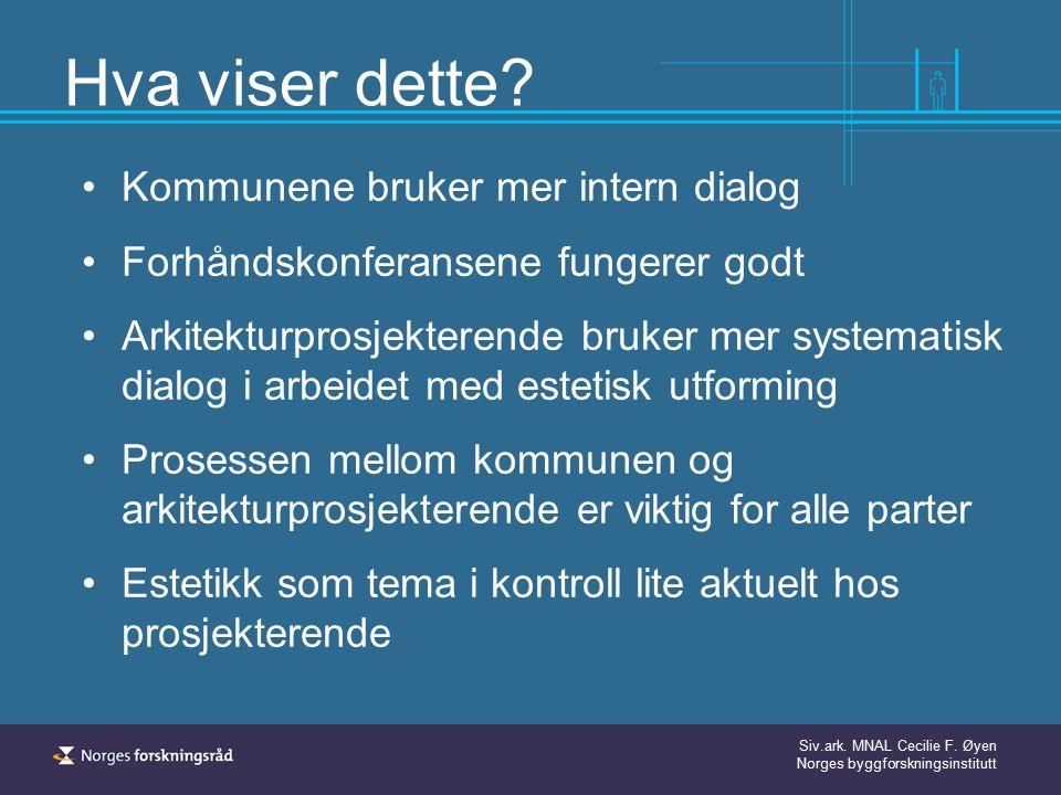 Siv.ark. MNAL Cecilie F. Øyen Norges byggforskningsinstitutt Hva viser dette? Kommunene bruker mer intern dialog Forhåndskonferansene fungerer godt Ar