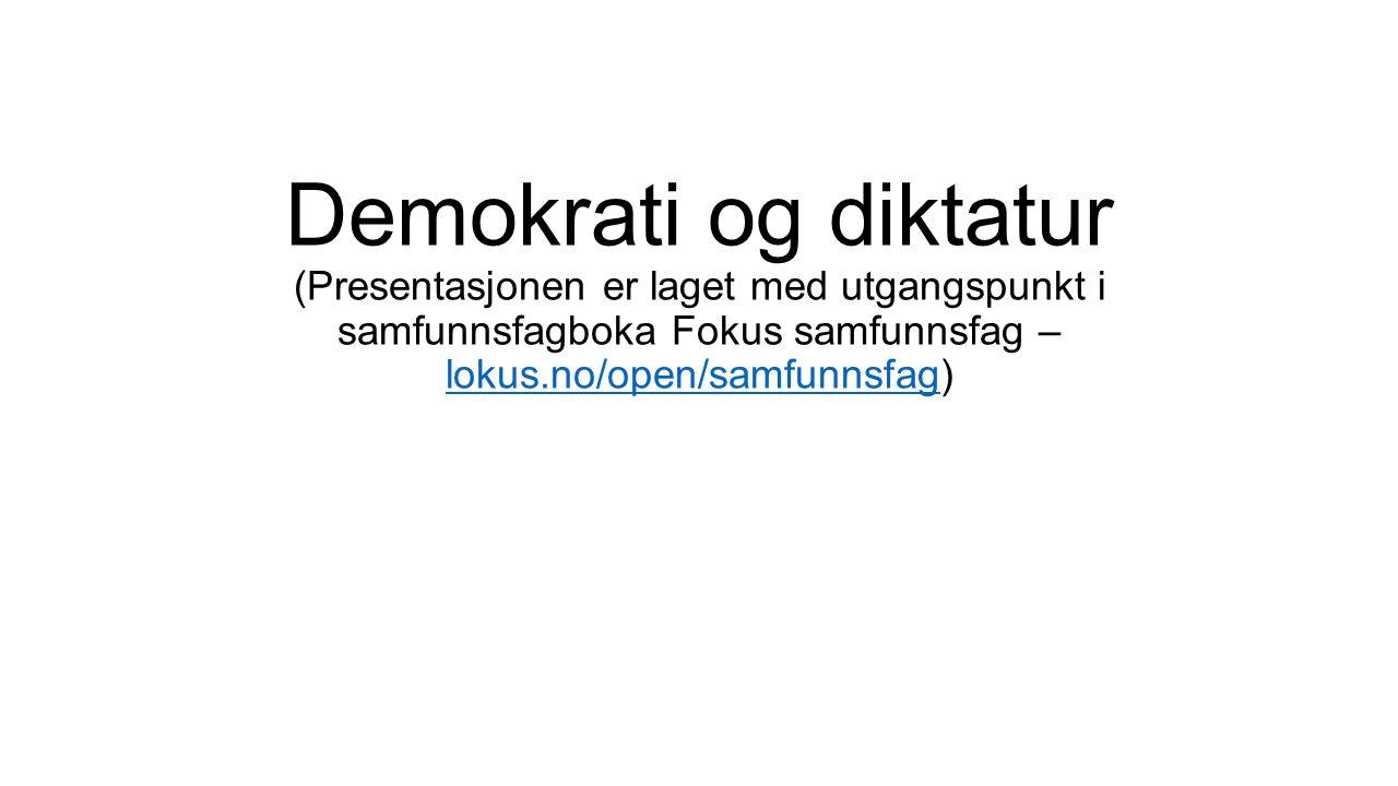 Demokrati og diktatur (Presentasjonen er laget med utgangspunkt i samfunnsfagboka Fokus samfunnsfag – lokus.no/open/samfunnsfag) lokus.no/open/samfunnsfag